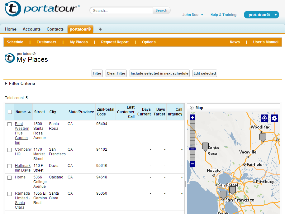portatour® for Salesforce® – my personal sales-route planner