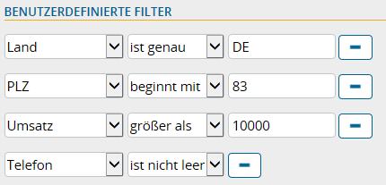 Benutzerdefinierte Filter für Kunden auf Landkarte