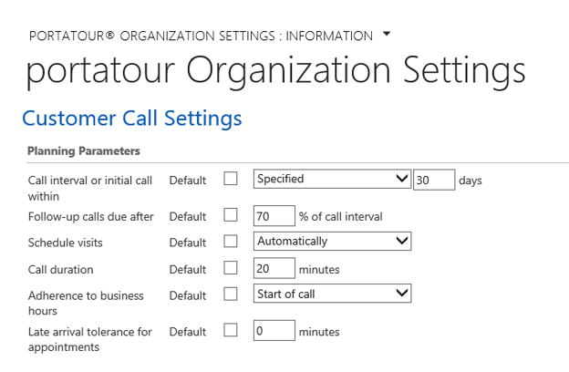portatour for Microsoft Dynamics CRM route planner settings